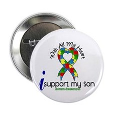 "With All My Heart Autism 2.25"" Button"