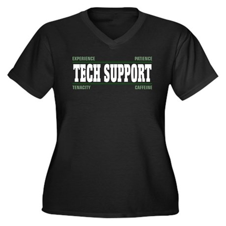 Tech Support Women's Plus Size V-Neck Dark T-Shirt