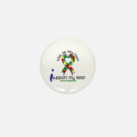 With All My Heart Autism Mini Button