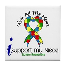 With All My Heart Autism Tile Coaster