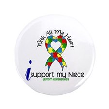 "With All My Heart Autism 3.5"" Button (100 pack)"