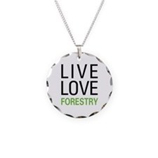 Live Love Forestry Necklace Circle Charm