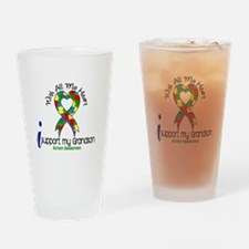 With All My Heart Autism Drinking Glass