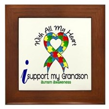 With All My Heart Autism Framed Tile