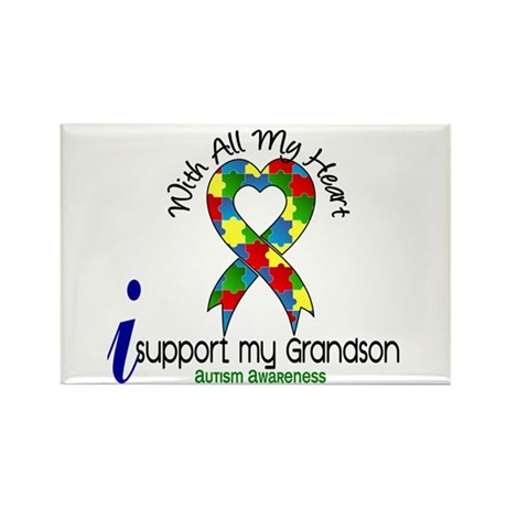With All My Heart Autism Rectangle Magnet (100 pac