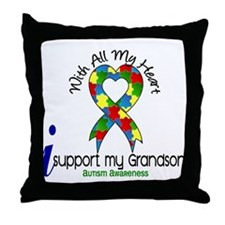 With All My Heart Autism Throw Pillow