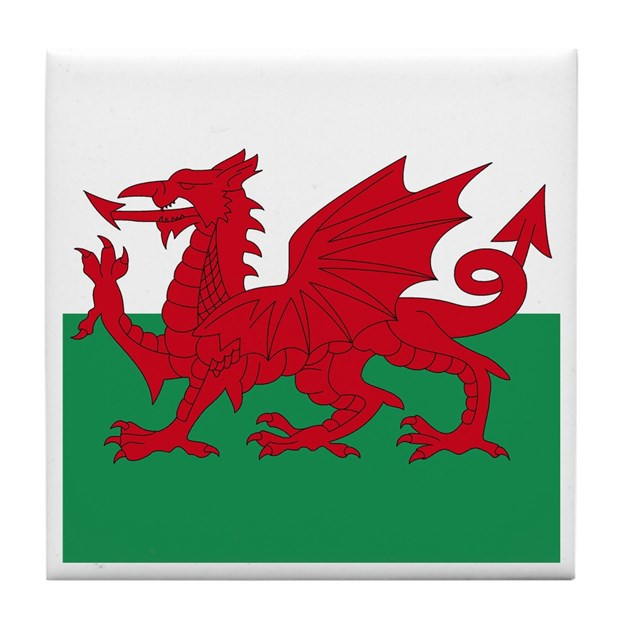 Red Dragon Tile : Welsh red dragon tile coaster by cantillon