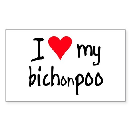 I LOVE MY Bichonpoo Sticker (Rectangle)