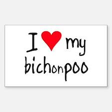I LOVE MY Bichonpoo Sticker (Rectangle)