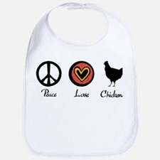 Peace Love And Chickens Bib
