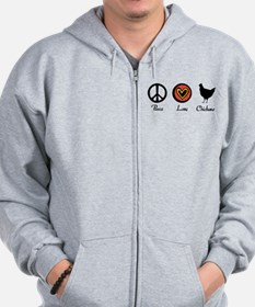 Peace Love And Chickens Zip Hoodie