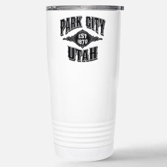 Park City Black Silver Stainless Steel Travel Mug
