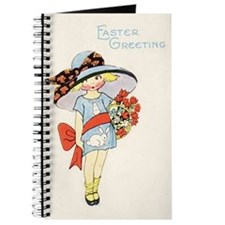 Vintage Girl with Easter Bonnet Journal