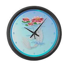 Silver Koi-Pink and Pink Lili Large Wall Clock