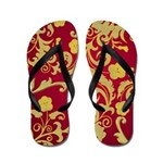 Red and Gold Floral Flip Flop / Thongs