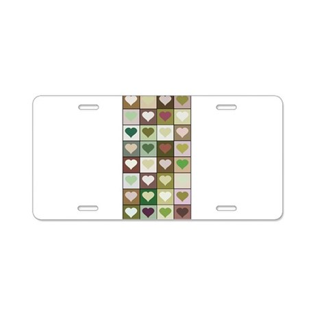 Army colors hearts pattern Aluminum License Plate