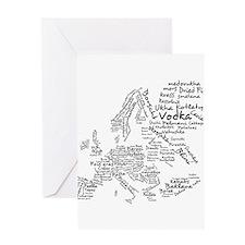 European Food Map Greeting Card