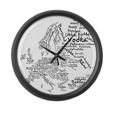 European Food Map Large Wall Clock