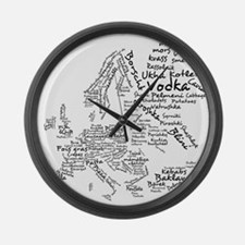 European Food Map Large Wall Clock