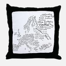 European Food Map Throw Pillow