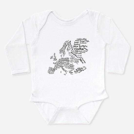 European Food Map Long Sleeve Infant Bodysuit