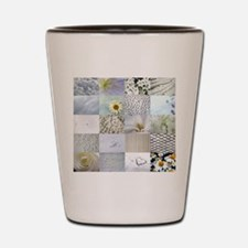 White Photography Collage Shot Glass