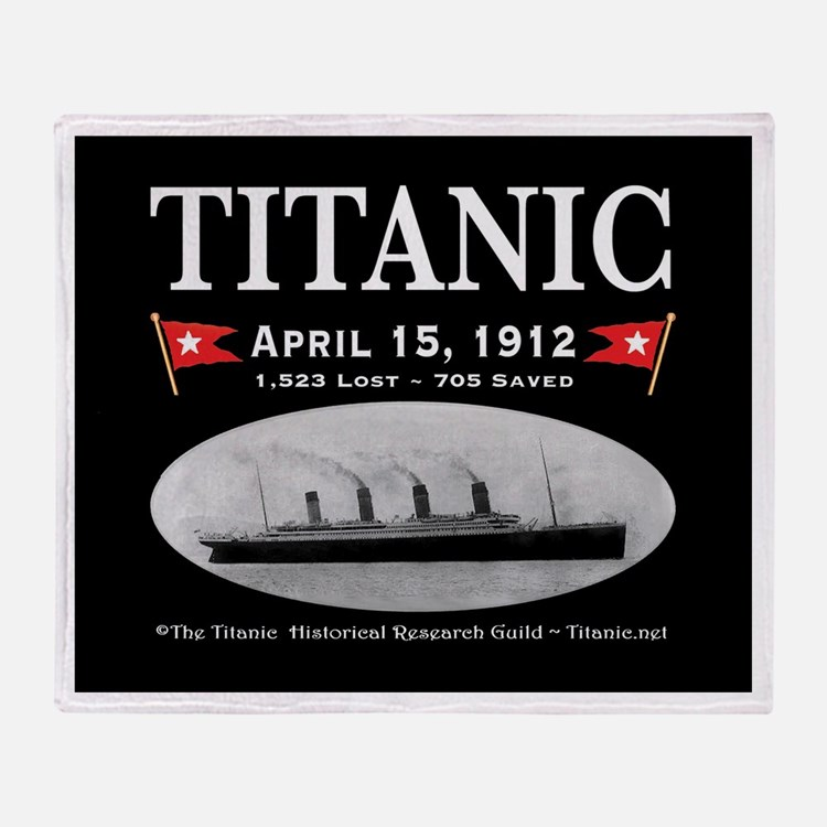 Titanic Ghost Ship (black) Throw Blanket