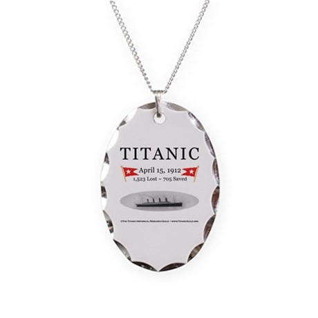 Titanic Ghost Ship (white) Necklace Oval Charm
