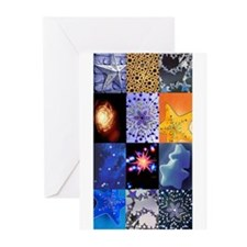 Blue and Gold Stars photo col Greeting Cards (Pk o