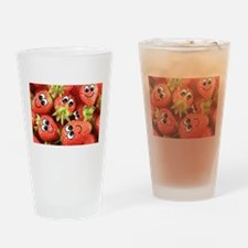 Cute Happy Strawberries Drinking Glass
