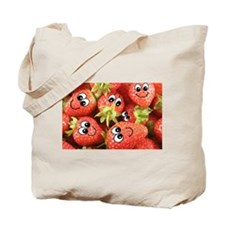 Cute Happy Strawberries Tote Bag
