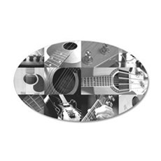 Stylish Guitar Photo Collage 22x14 Oval Wall Peel