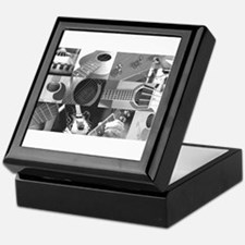 Stylish Guitar Photo Collage Keepsake Box