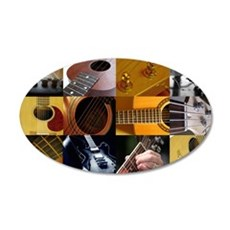 Guitar Photography Collage 22x14 Oval Wall Peel