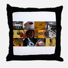Guitar Photography Collage Throw Pillow