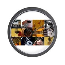 Guitar Photography Collage Wall Clock