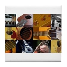 Guitar Photography Collage Tile Coaster