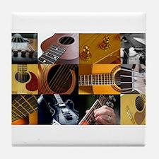 Guitar Photography Collage Tile Coaster