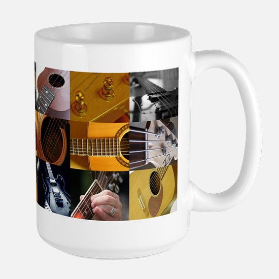 Guitar Photography Collage Large Mug
