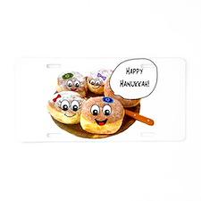 Happy Hanukkah Donuts Aluminum License Plate