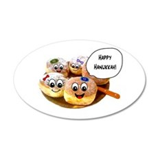 Happy Hanukkah Donuts 22x14 Oval Wall Peel
