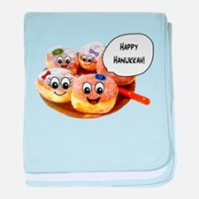 Happy Hanukkah Donuts baby blanket