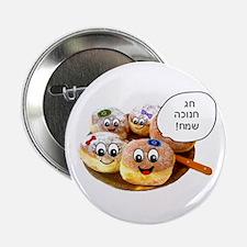 """Chanukah Sameach Donuts 2.25"""" Button (10 pack)"""