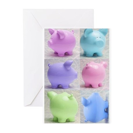 Colorful Cute Pigs Collage Greeting Cards (Pk of 2
