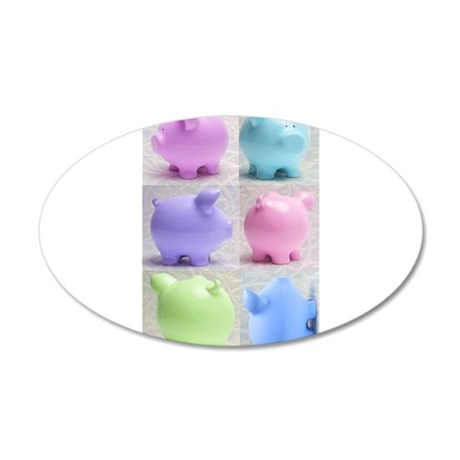 Colorful Cute Pigs Collage 38.5 x 24.5 Oval Wall P