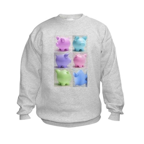Colorful Cute Pigs Collage Kids Sweatshirt
