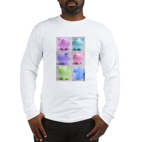 Colorful Cute Pigs Collage Long Sleeve T-Shirt