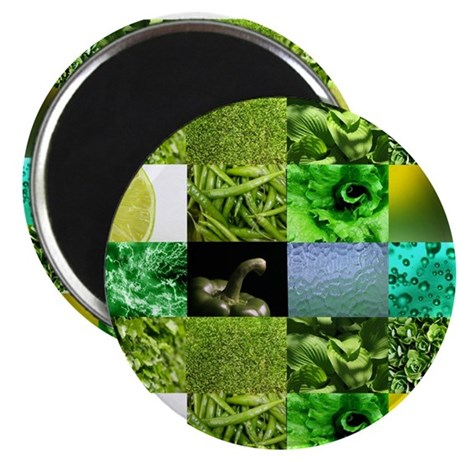 """Green Photography Collage 2.25"""" Magnet (10 pack)"""