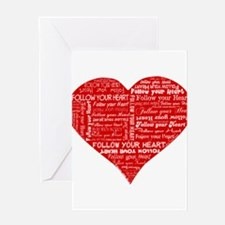 Follow Your Heart Red Typogra Greeting Card