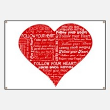 Follow Your Heart Red Typogra Banner